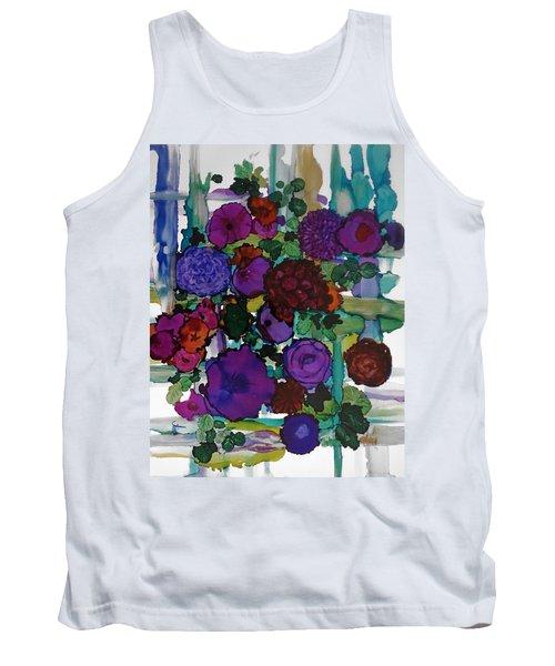 Flowers On Trellis Tank Top by Alika Kumar