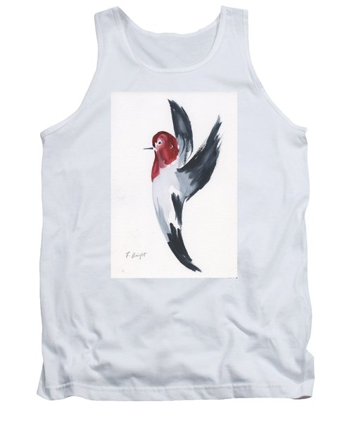 Tank Top featuring the painting Flying Red-headed Woodpecker by Frank Bright
