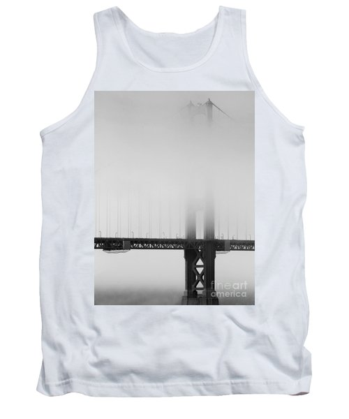 Fog At The Golden Gate Bridge 4 - Black And White Tank Top