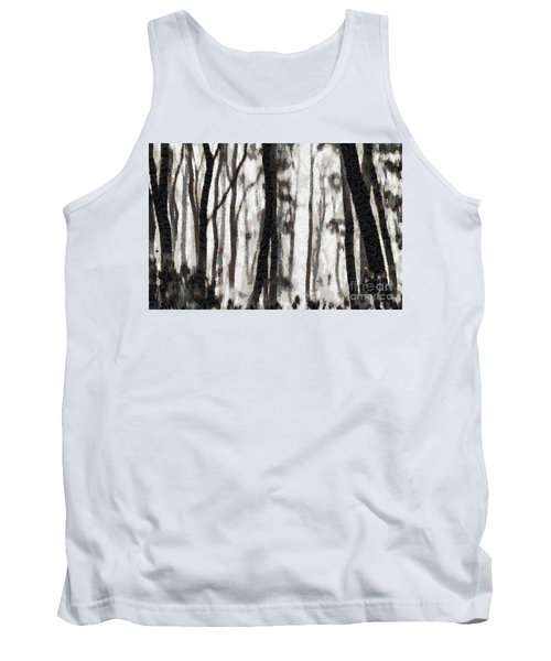 Foggy Forest Tree Paint Tank Top