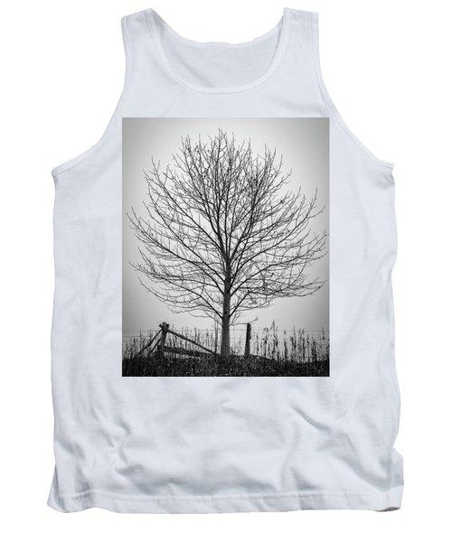 Foggy Lone Tree Hill Fine Art Tank Top