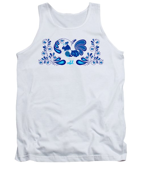 Folk Art Rooster In Blue Tank Top by Ruanna Sion Shadd a'Dann'l Yoder