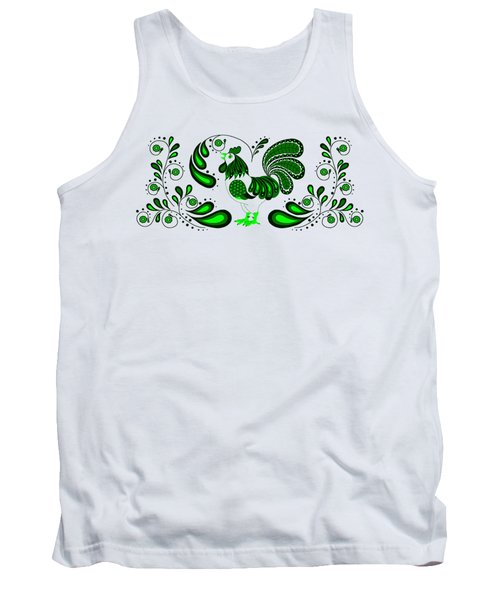 Folk Art Rooster In Green Tank Top