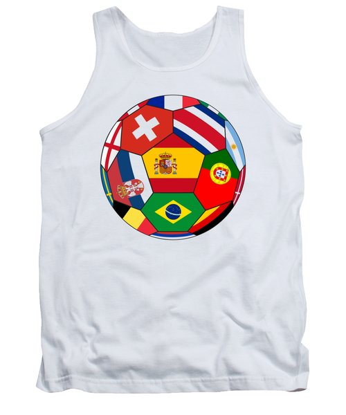 Football Ball With Various Flags Tank Top