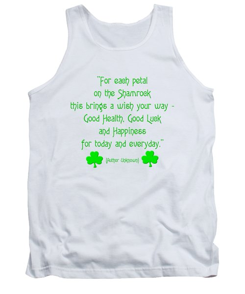 For Each Petal On The Shamrock Tank Top by Rose Santuci-Sofranko