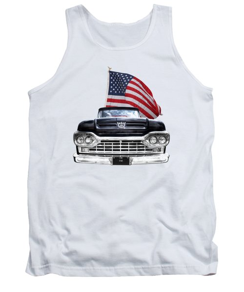 Ford F100 With U.s.flag On Black Tank Top