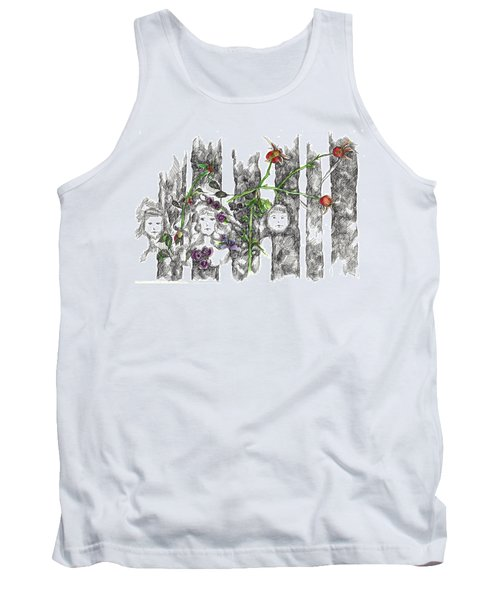 Tank Top featuring the drawing Forest Faces by Cathie Richardson