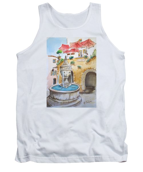 Tank Top featuring the painting Fountain At St Paul De Vence by Marilyn Zalatan