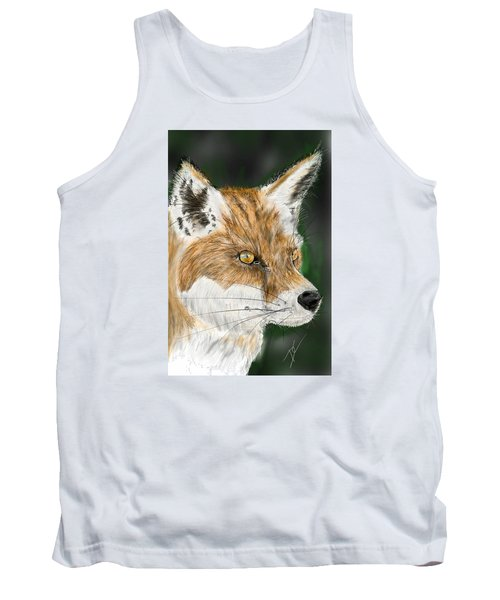 Tank Top featuring the digital art Fox by Darren Cannell