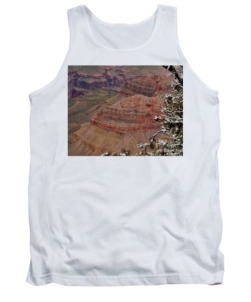 Tank Top featuring the photograph Framed By A Snow Laden Tree by Debby Pueschel
