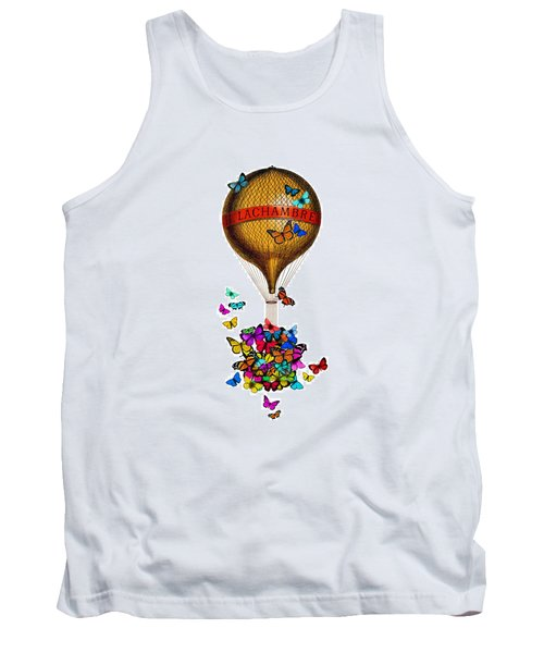 French Hot Air Balloon With Rainbow Butterflies Basket Tank Top