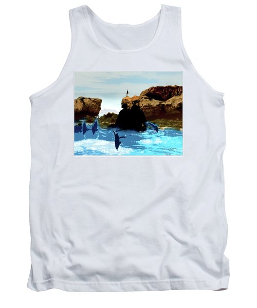 Friends With Dolphins In Colour Tank Top