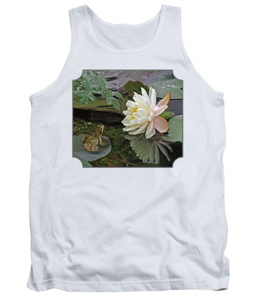 Frog In Awe Of White Water Lily Tank Top by Gill Billington