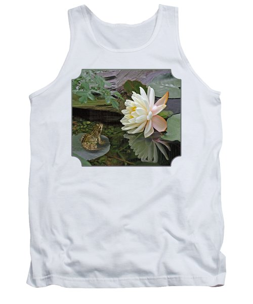 Frog In Awe Of White Water Lily Tank Top