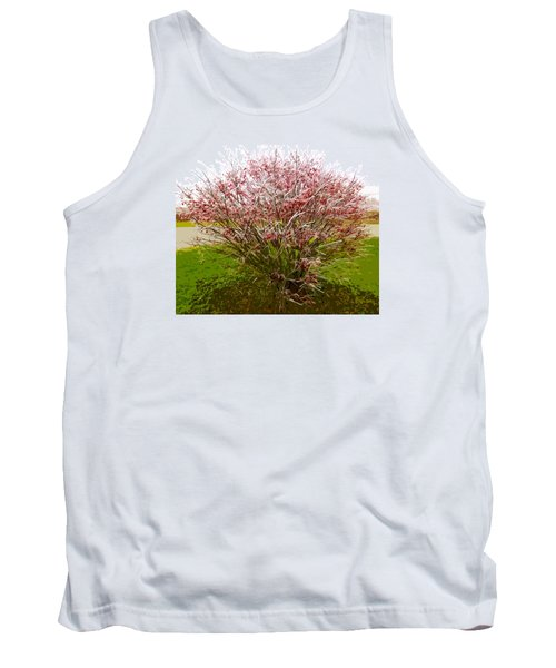 Tank Top featuring the photograph Frosty Fire Bush by Spyder Webb