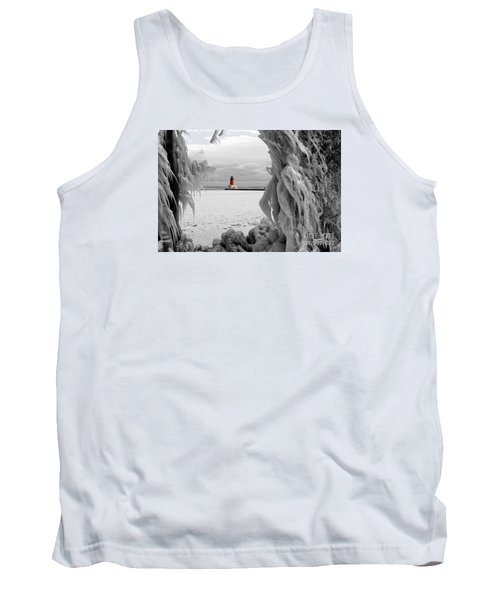 Tank Top featuring the photograph Frozen In Time - Menominee North Pier Lighthouse by Mark J Seefeldt