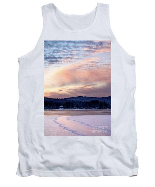 Frozen Lake Sunset In Wilton Maine  -78096-78097 Tank Top