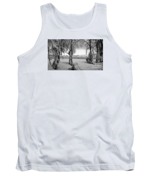 Tank Top featuring the photograph Frozen Landscape Of The Menominee North Pier Lighthouse by Mark J Seefeldt