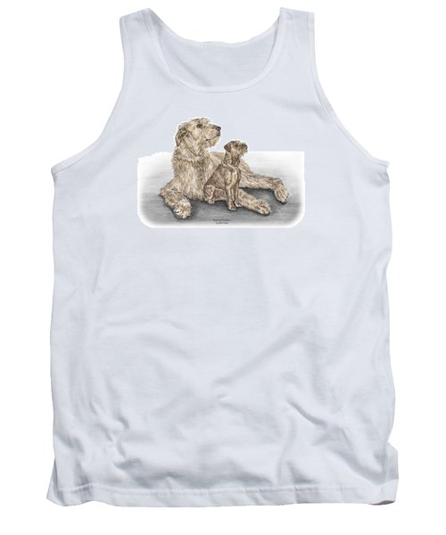 Tank Top featuring the drawing Full Of Promise - Irish Wolfhound Dog Print Color Tinted by Kelli Swan