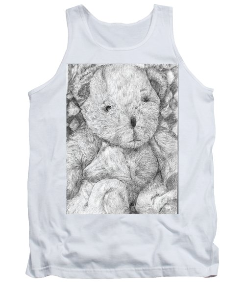 Tank Top featuring the drawing Fuzzy Wuzzy Bear  by Vicki  Housel