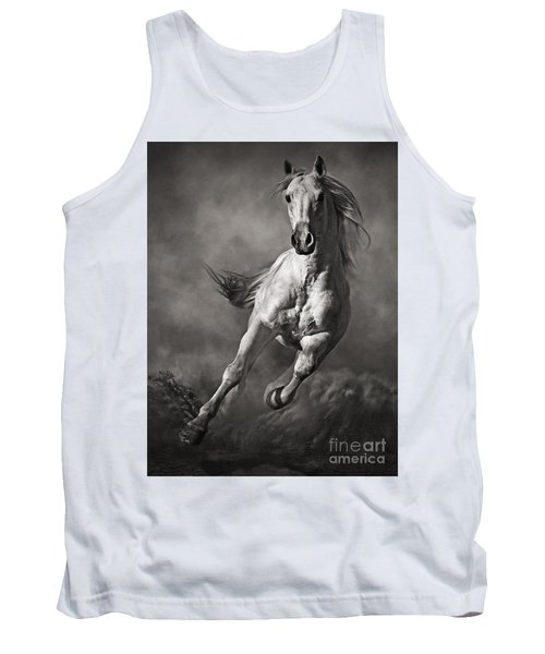 Galloping White Horse In Dust Tank Top