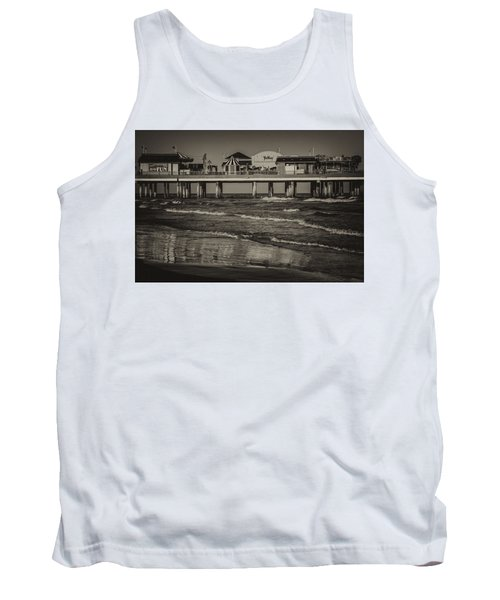 Galveston Pleasure Pier - Black And White Tank Top