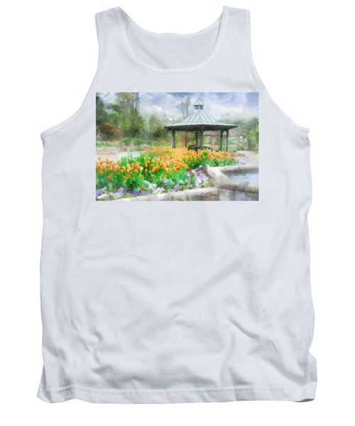 Tank Top featuring the digital art Gazebo With Tulips by Francesa Miller