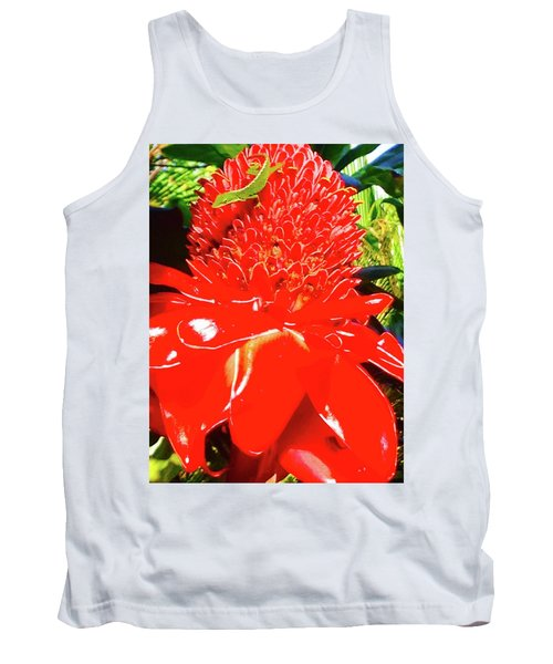Gecko On Torch Ginger Tank Top