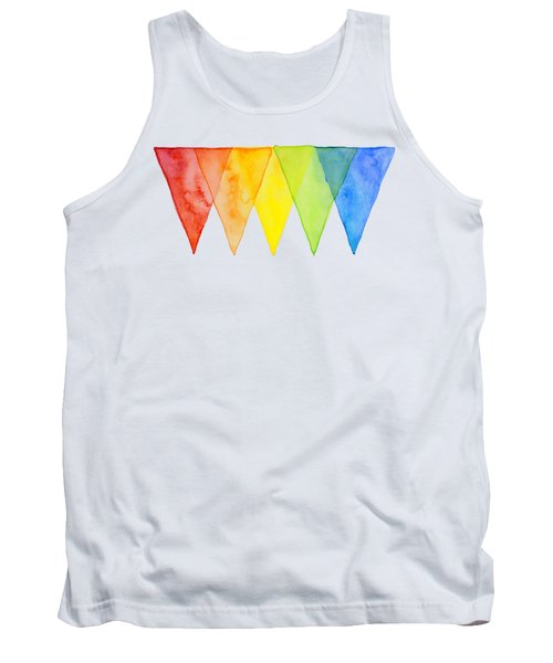 Geometric Watercolor Pattern Rainbow Triangles Tank Top