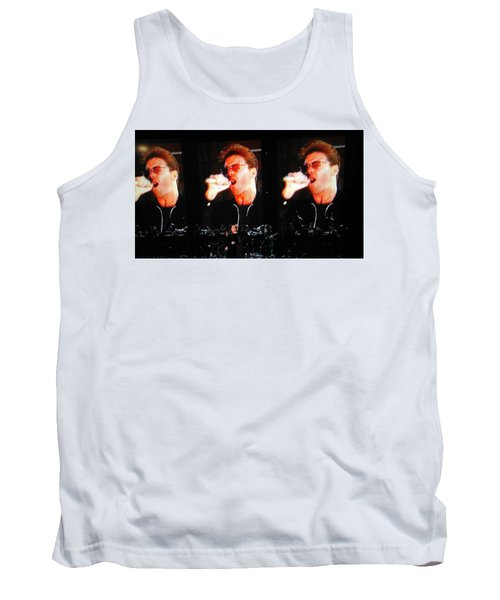 Tank Top featuring the photograph George Michael The Passionate Performer by Toni Hopper