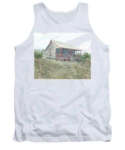 Tank Top featuring the painting Get Away Cottage by Joel Deutsch