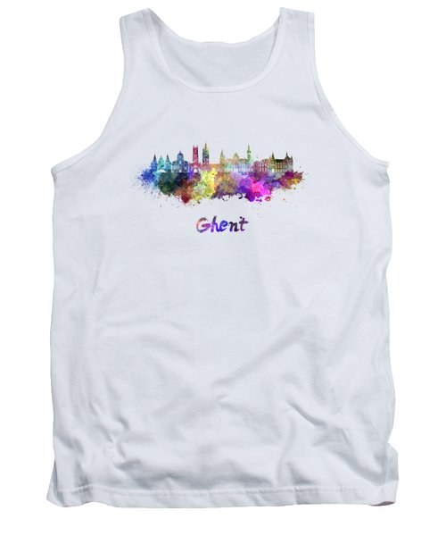 Ghent Skyline In Watercolor Tank Top