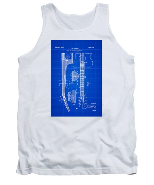 Tank Top featuring the photograph Gibson Guitar Patent 1923 Blue Print by Bill Cannon