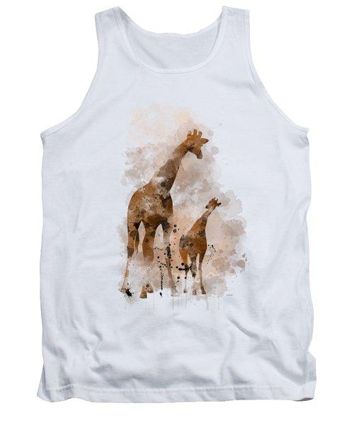 Giraffe And Baby Tank Top by Marlene Watson