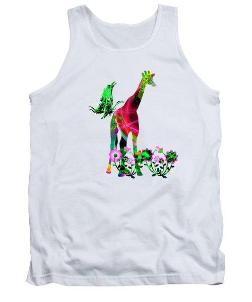 Giraffe And Flowers3 Tank Top