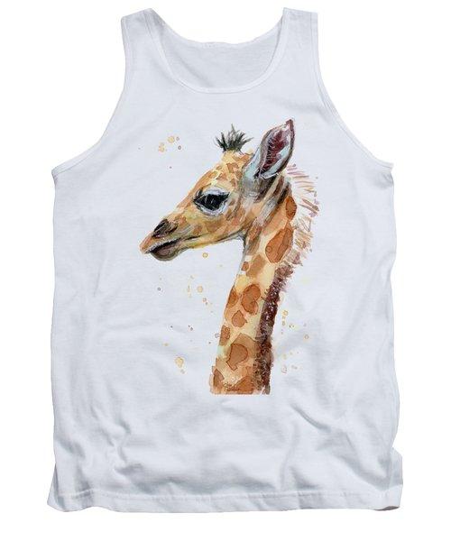 Giraffe Baby Watercolor Tank Top