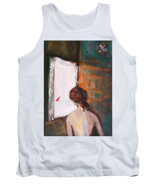 Tank Top featuring the painting Girl At The Window by Winsome Gunning