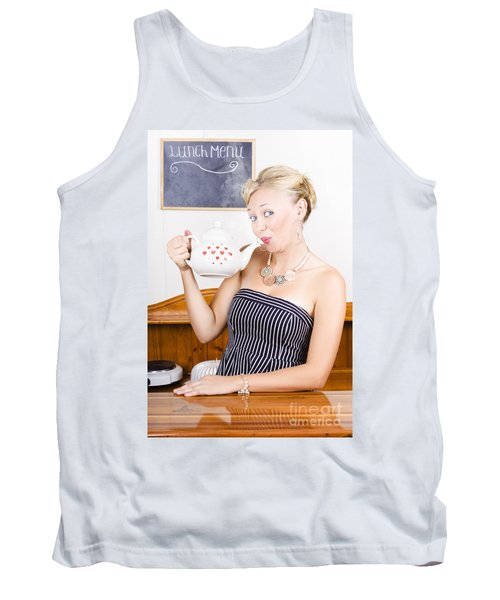 Girl In Cafe Serving Hot Coffee With Heart Teapot Tank Top