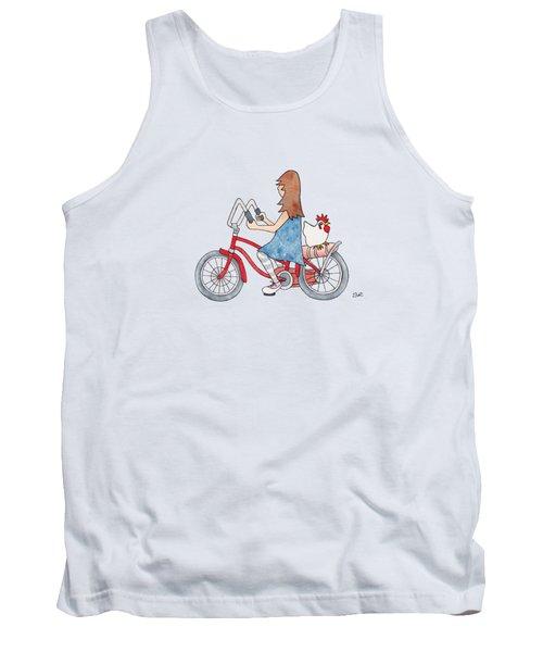 Girl On Bike Tank Top
