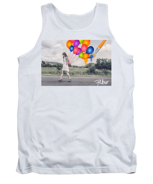 Girl Walking With Ballons #1 Tank Top