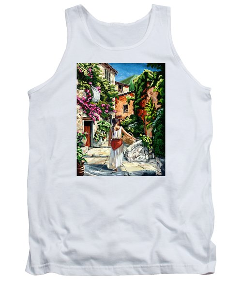 Girl With Basket On A Greek Island Tank Top