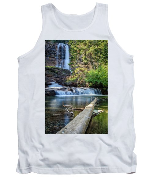 Glacier National Park Waterfall 3 Tank Top by Andres Leon