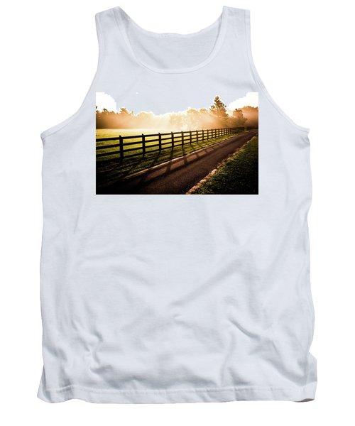 Tank Top featuring the photograph Glowing Fog At Sunrise by Shelby Young