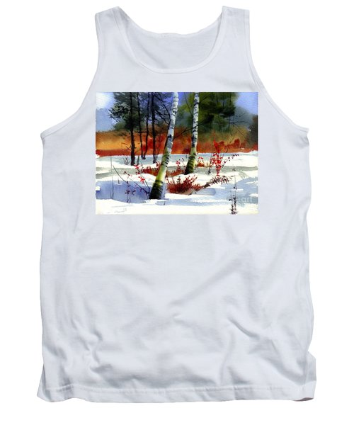 Gold Bushes Watercolor Tank Top