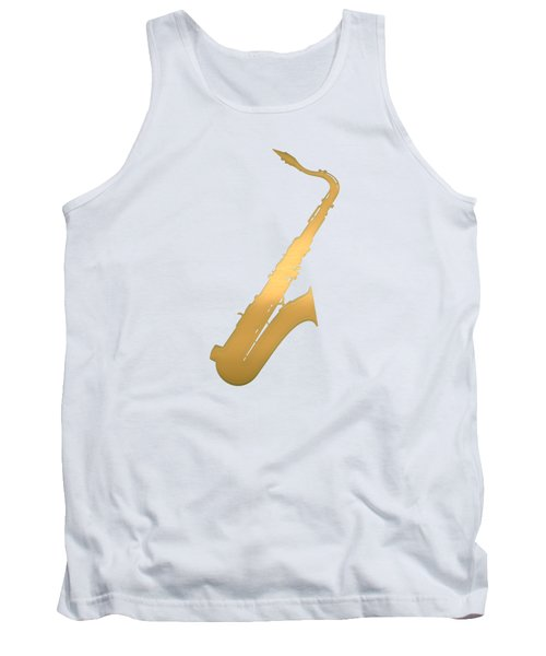 Gold Embossed Saxophone On Beige Background Tank Top