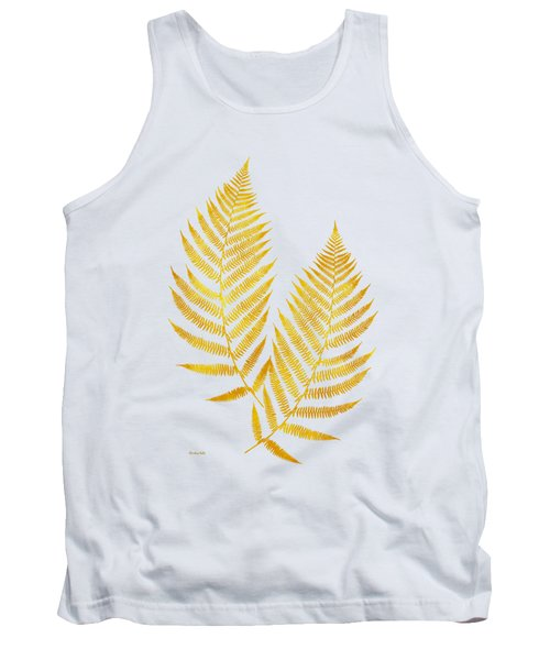 Tank Top featuring the mixed media Gold Fern Leaf Art by Christina Rollo
