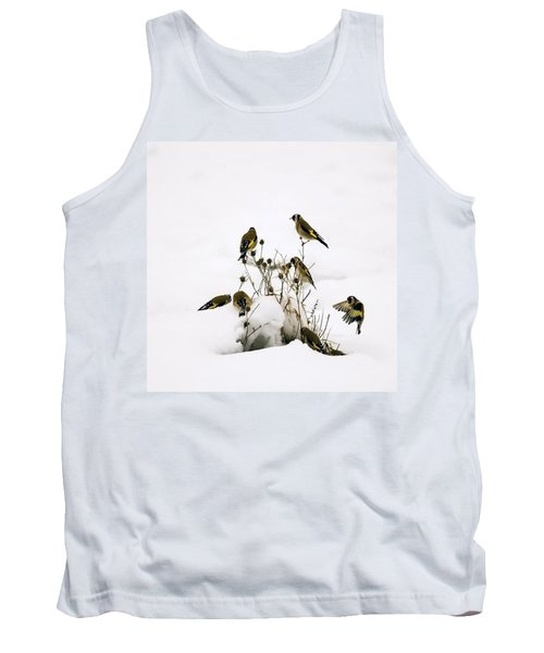 Gold Finches In Snow Tank Top