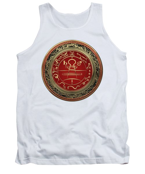 Gold Seal Of Solomon - Lesser Key Of Solomon On White Leather  Tank Top