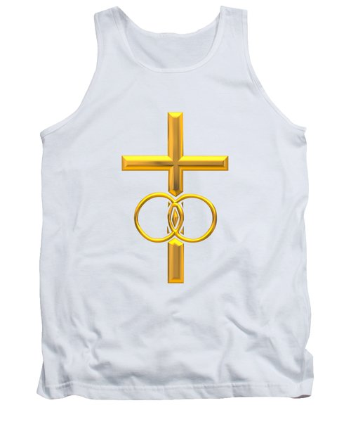 Golden 3d Look Cross With Wedding Rings Tank Top