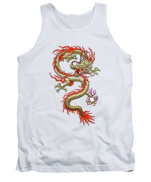 Golden Chinese Dragon Fucanglong On Rice Paper  Tank Top